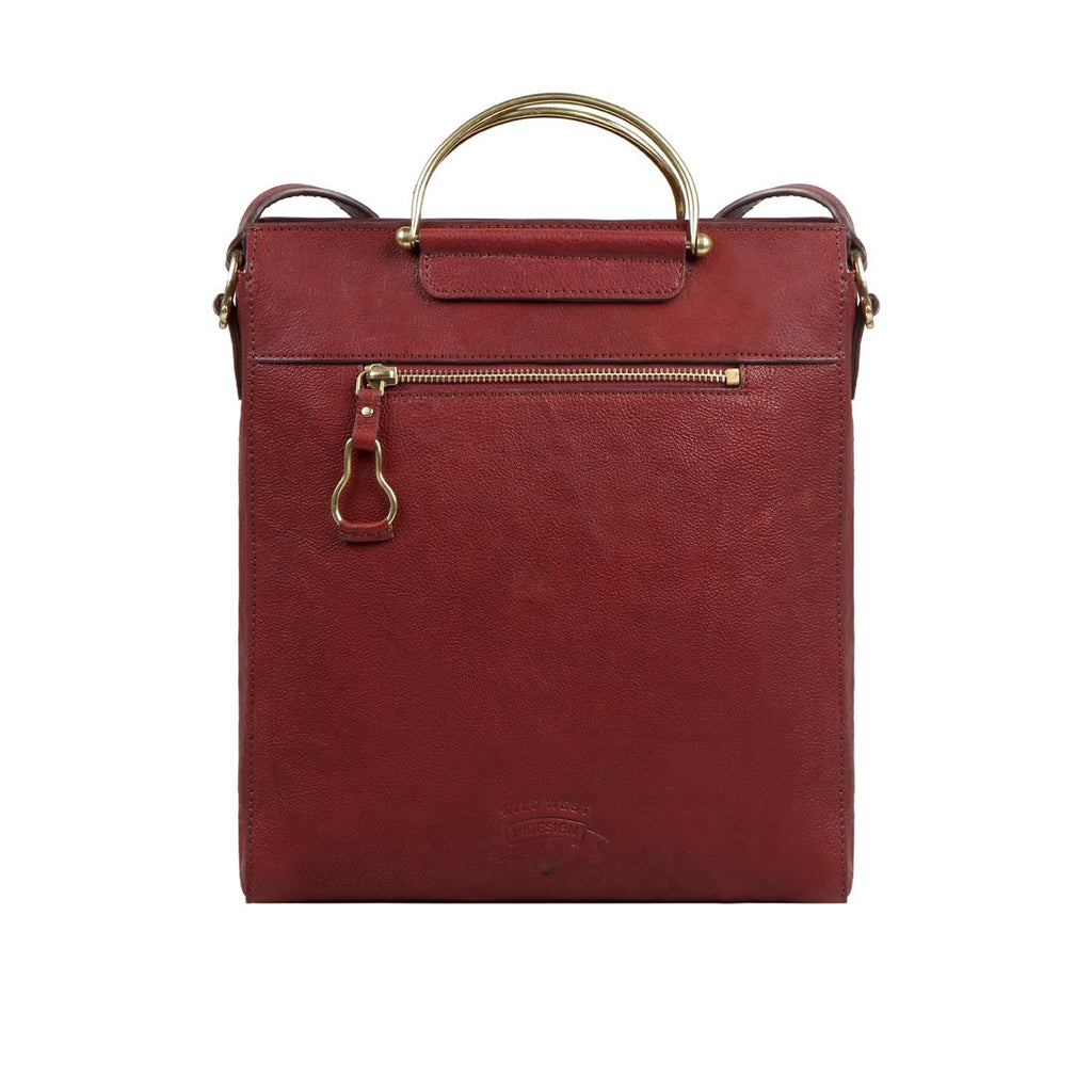Wild Rose 01 Leather Satchel (Red)