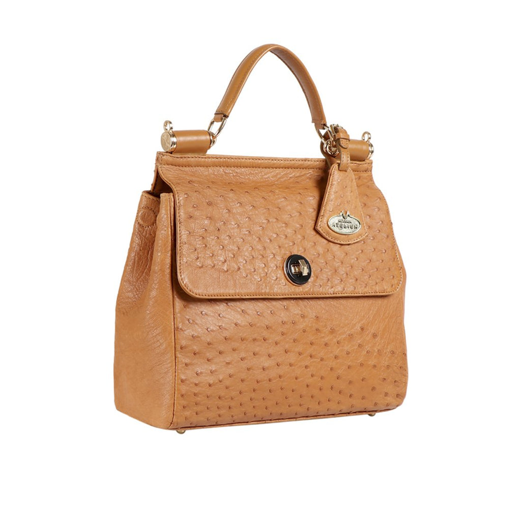 LUXURY OSTRICH LEATHER SEZANNE SATCHEL