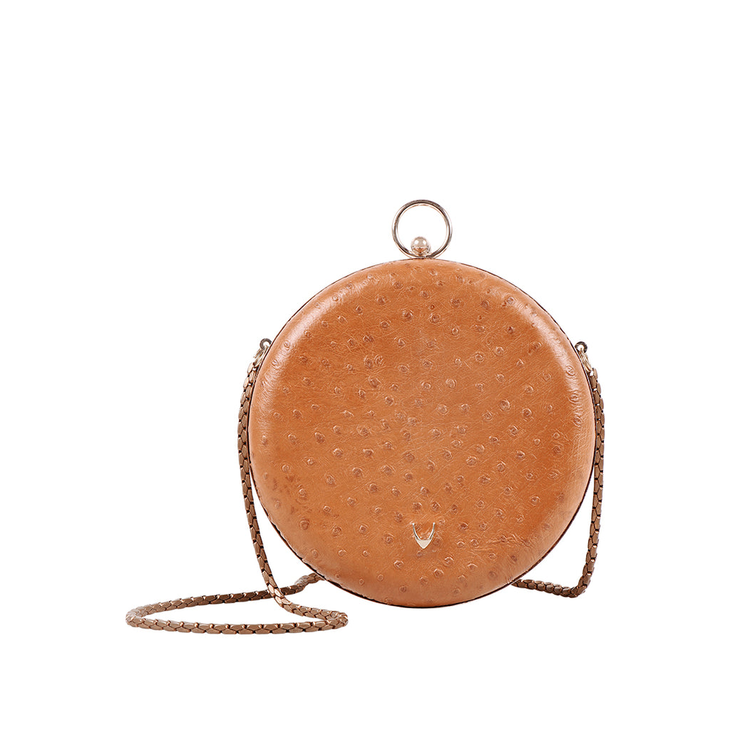 Luxury Ostrich Leather Ardenne Shoulder Bag (Tan)