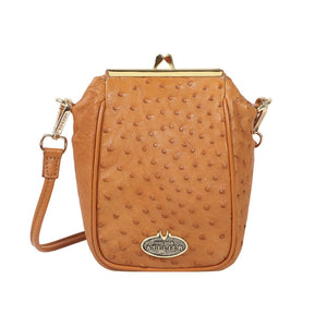 Luxury Ostrich Leather Argonne Crossbody (Tan)