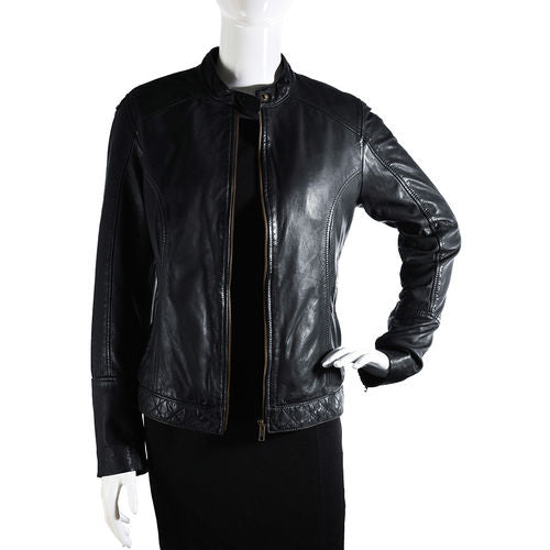 Cher Women's Leather Jacket (Black)
