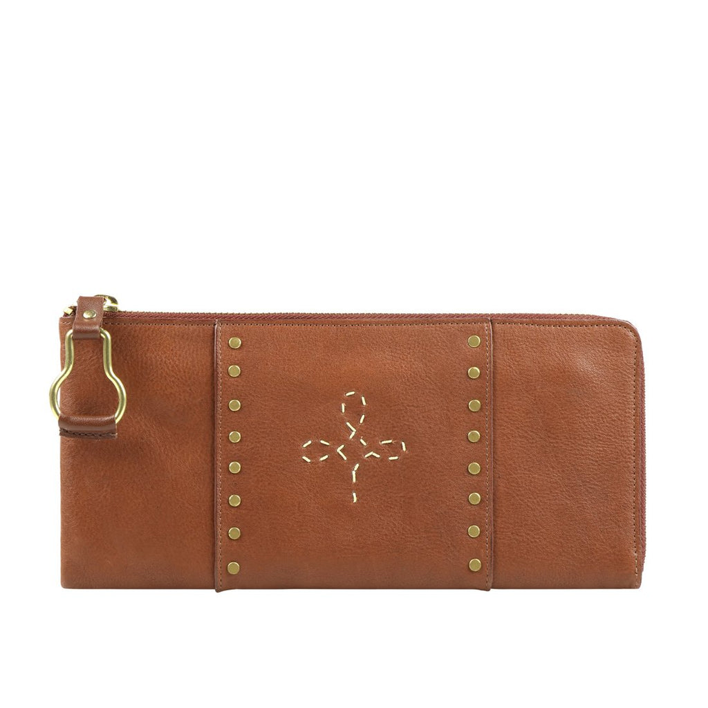 Wild Rose W3 L-Zip Wallet (Tan)
