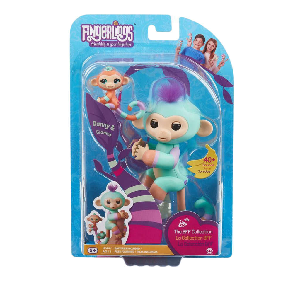 Fingerlings Baby Monkey & Mini Bffs - Danny & Gianna (Turquoise-Orange) - by WowWee - MGworld