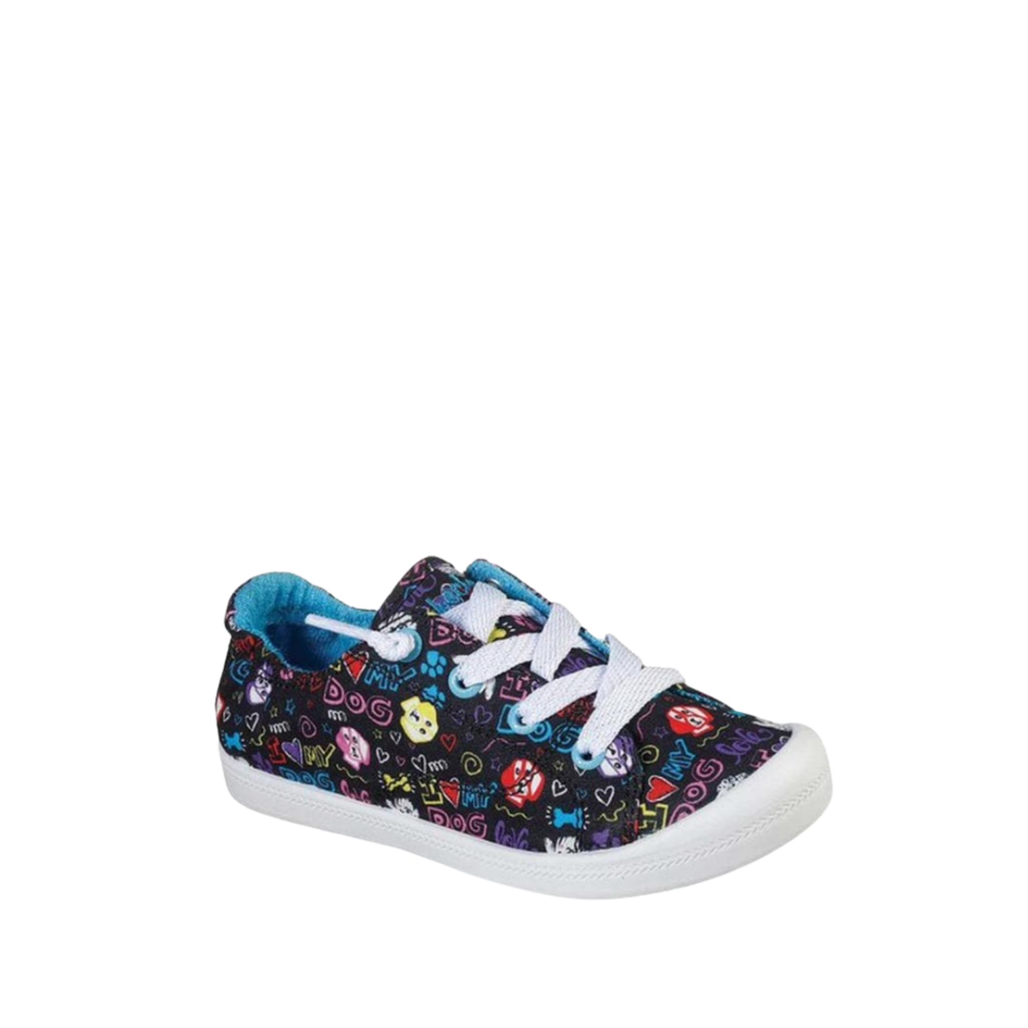 "Skechers Girls' Lil BOBS Beach Bingo ""I Chews You"" Sneaker Black & Turquoise, 1 US 