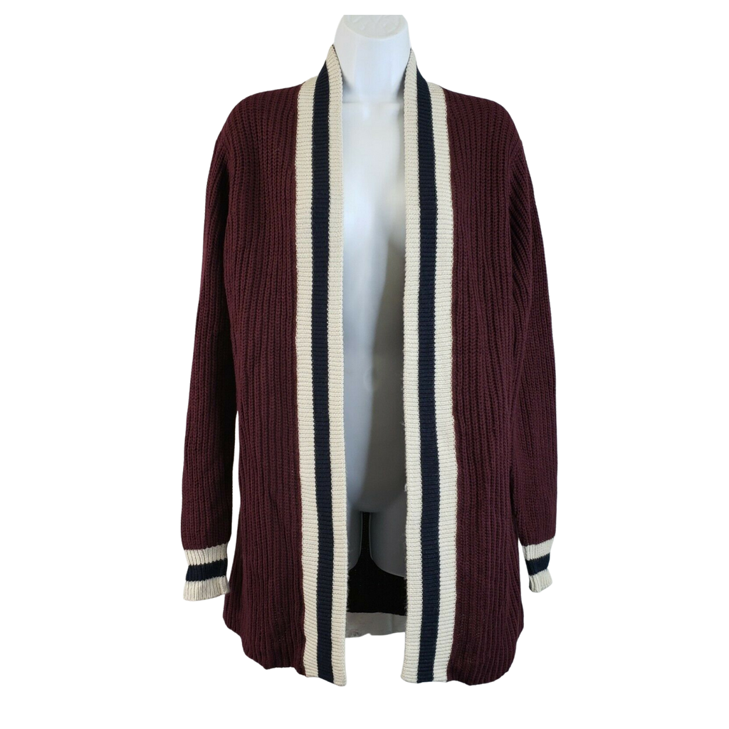 RDI Womens Shaker Collegiate Cardigan Medium Burgundy Navy Striped - MGworld