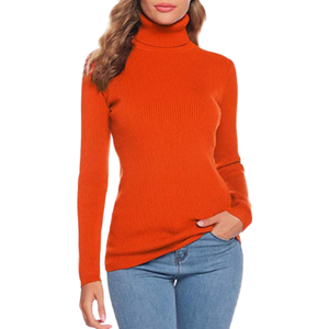 Fengtre Women's Turtleneck Cashmere Knit Elastic Long Sleeve Pullover Sweater, Medium - MGworld