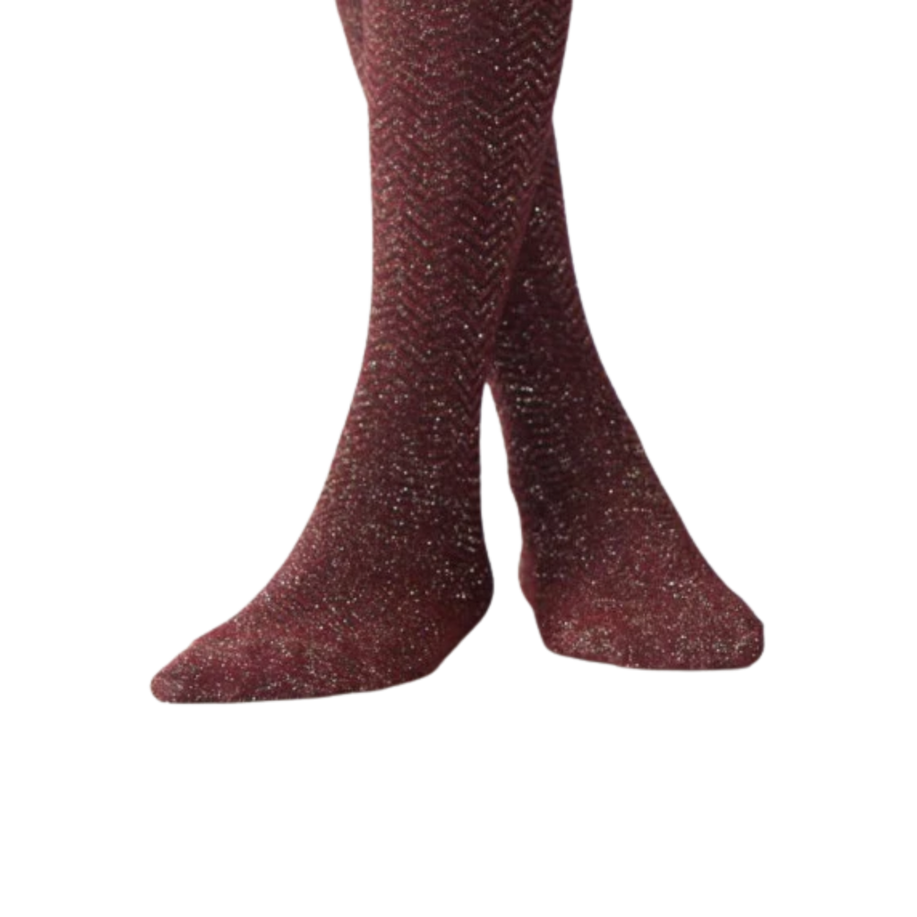 Blinq Collection Burgundy with Gold Shimmer Herringbone Tights, Size 8 - MGworld