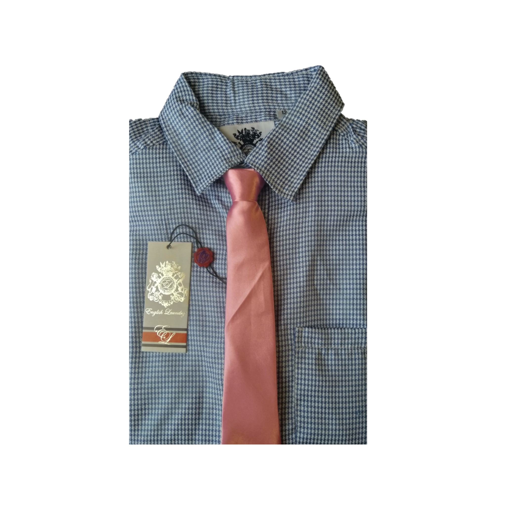 English Laundry Men's Blue Mini Check Dress Shirt and Pink Necktie, Size 12 - MGworld