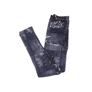 Julia Fashion Fleece Leggings Faux Distressed Denim Pattern Print, Small/Medium - MGworld