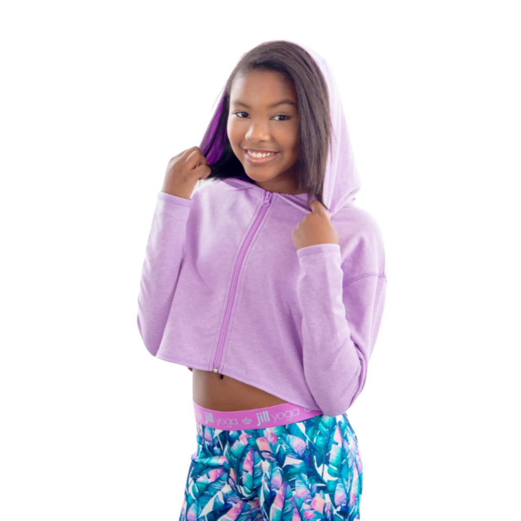 Jill Yoga Girls Cropped Zip-Up Hoodie | Size 10 (Medium) - MGworld