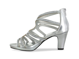 Easy Street Alive 5 Silver w/ rhinestones Open Heel Shoes, 8 1/2 - MGworld