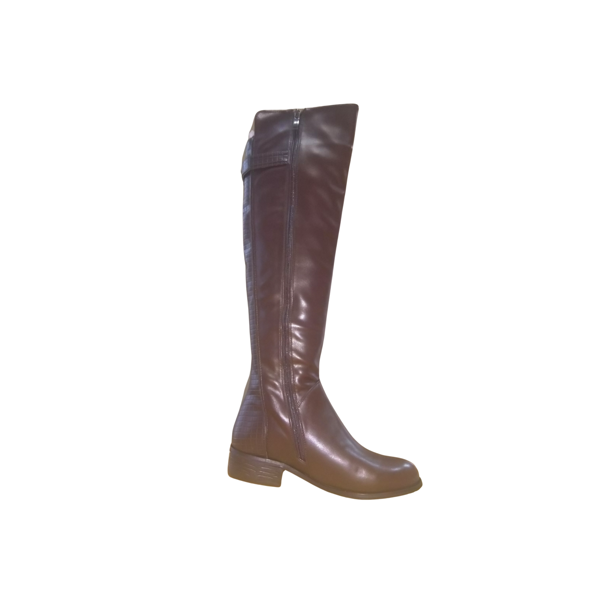 Reflexan Laufkomfort Brown Low-Heel Leather Knee High Winter Boots - MGworld