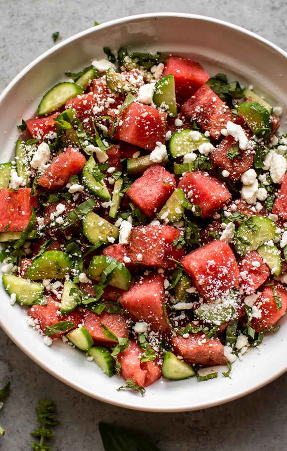Watermelon Feta Salad with Cucumber, Basil, and Mint