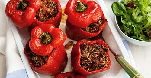 Greek-style stuffed capsicums