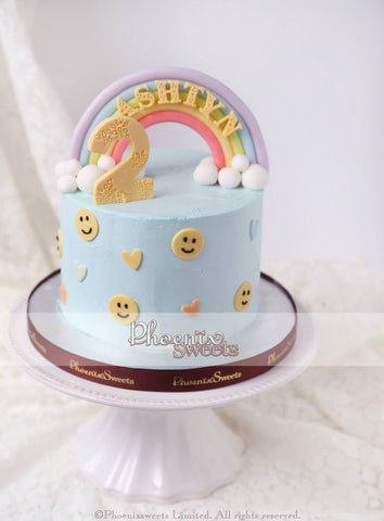 Phoenix Sweets Rainbow Cake with Smiley Faces