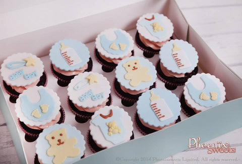 Best in Town Handmade Sugar Art. Handmade baby shower cupcake set for celebration souvenir or as a lovely gift to newborns.