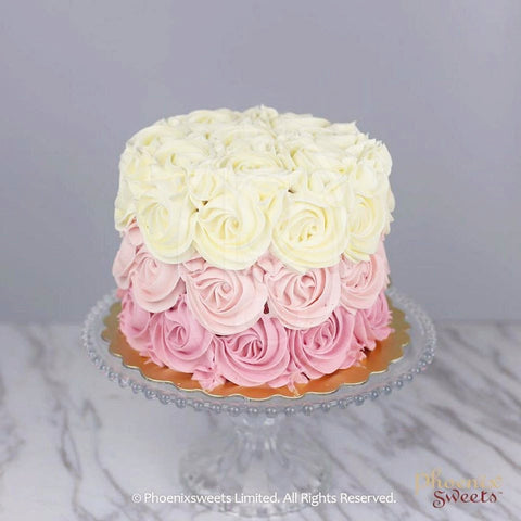 Butter Cream Cake - Ombré Rose Swirl