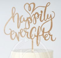 "Wooden ""Happily Ever After"" Cake Topper"