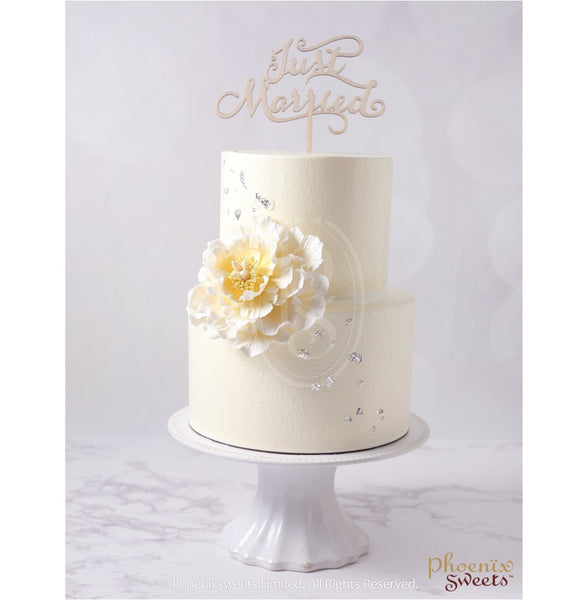 Butter Cream Cake - Ivory Peony (2 tiers)
