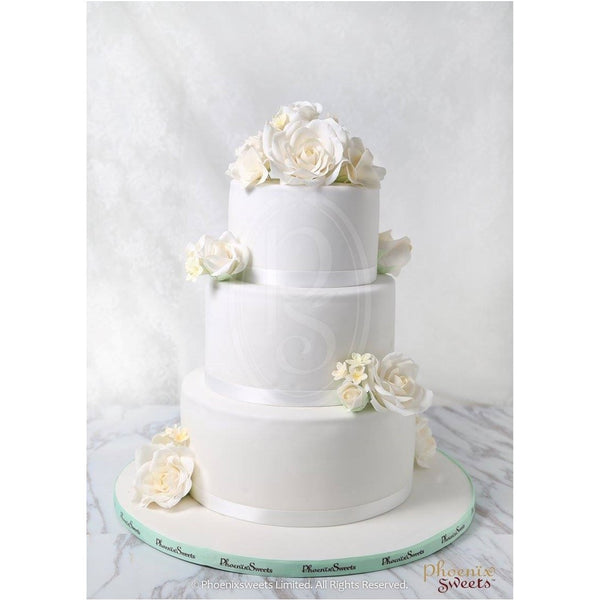 網上訂購Phoenix Sweets Fondant Cake - White Roses Cake 結婚 甜點檯 回禮小禮物 伴手禮 Order Phoenix Sweets Fondant Cake - White Roses Cake to celebrate wedding candy corner dessert table souvenirs 2 tiers, 3 tiers, Cake, Fondant Cake, Online Store, Wedding