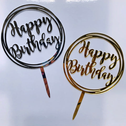 "Mini Acrylic Circle ""Happy Birthday"" Cake Topper"