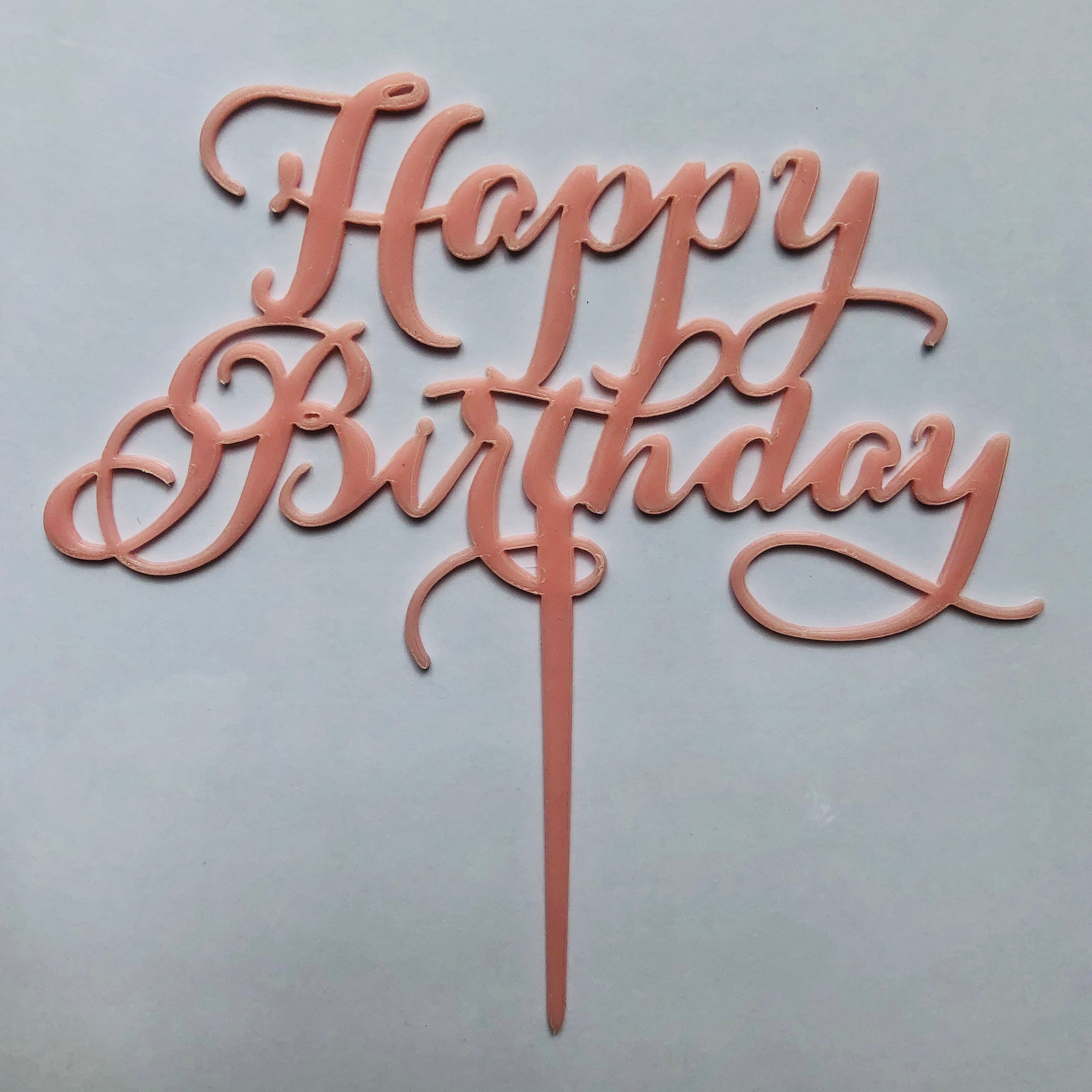 "Mini Acrylic Blue/Pink ""Happy Birthday"" Cake Topper"