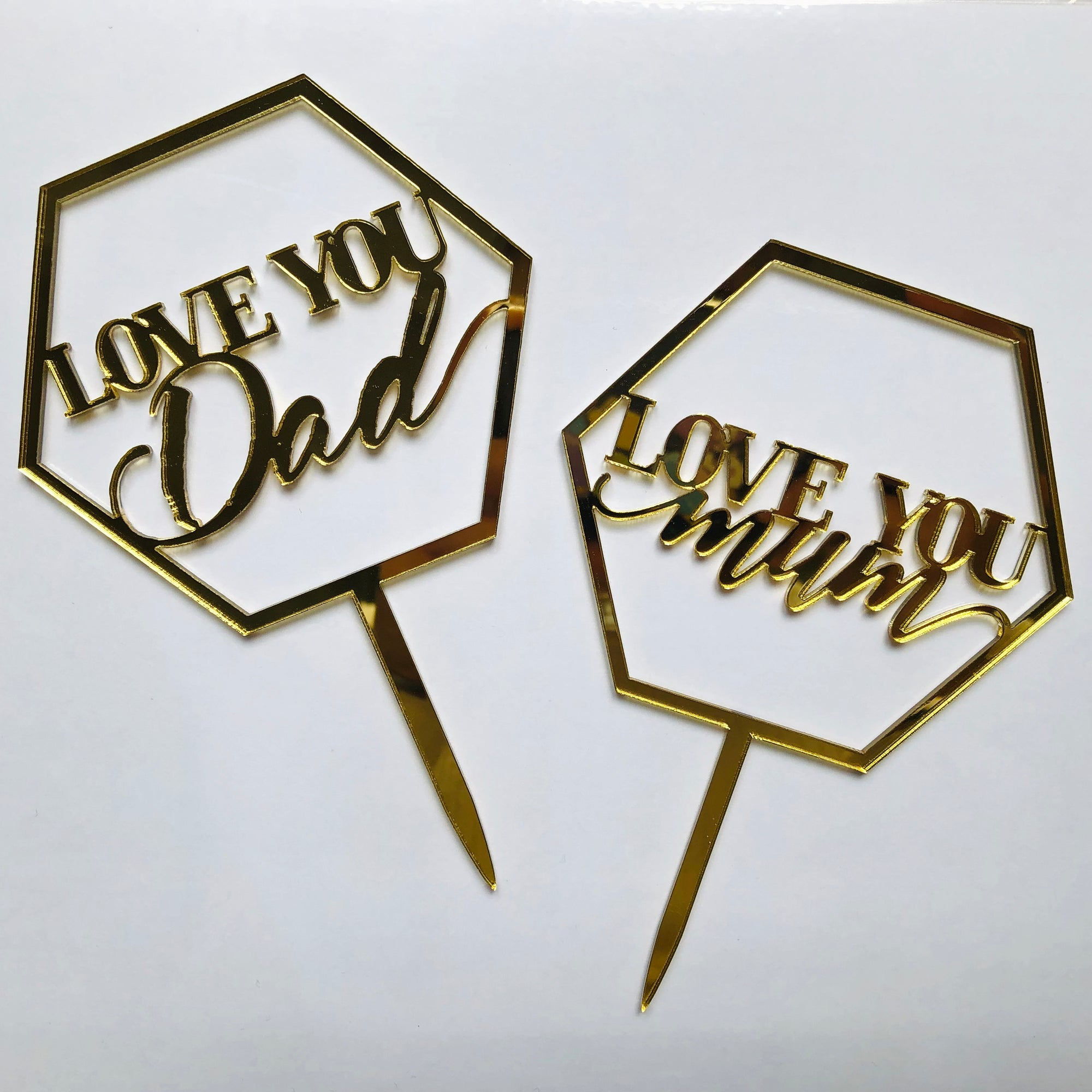 "Mini Acrylic ""Love You Dad/Love You Mom"" Cake Topper"