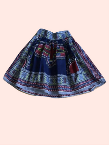 Blue Dashiki Midi Skirt - Qiim