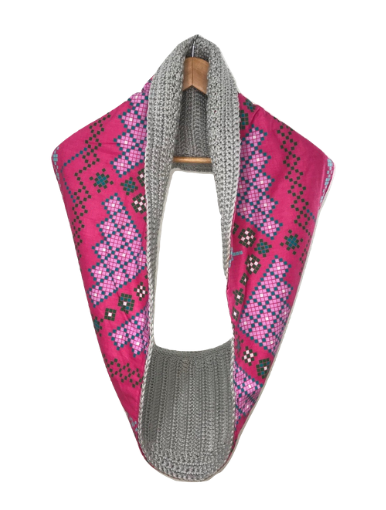 Grey Golden Pink Scarf - Qiim