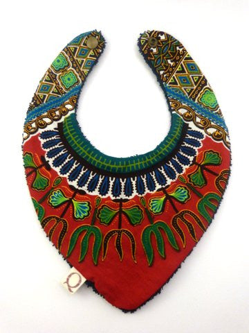 Red Dashiki Bandana Bib - Qiim