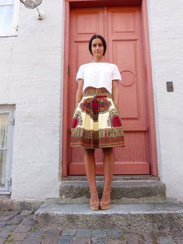 Yellow Dashiki Midi Skirt - Qiim