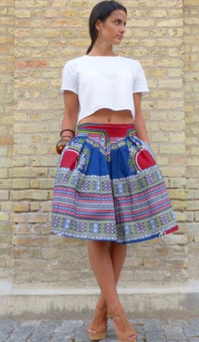 Blue Dashiki Midi Skirt