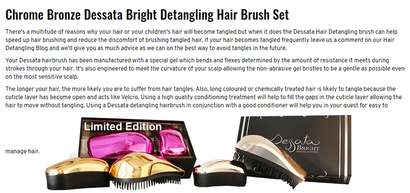 Dessata Bright Hair Detangling Brush. Chrome Bronze