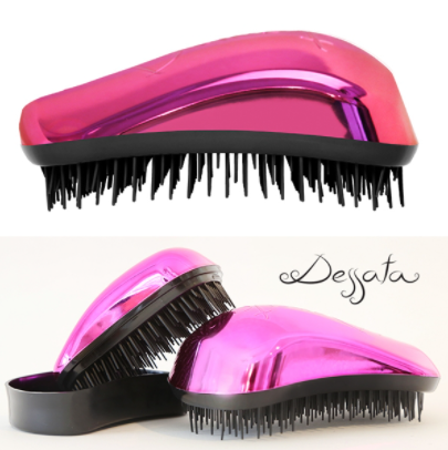 Dessata Bright Hair Detangling Brush. Chrome Fuchsia