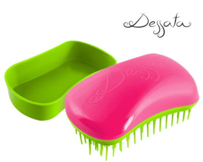 Dessata Mini Detangling Brush. Fuchsia & Lime