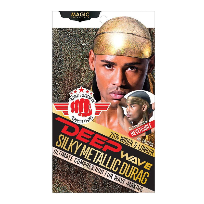 Magic Collection Deep Wave Silky Metallic Durag Reversible Black/Gold - 4802GOL