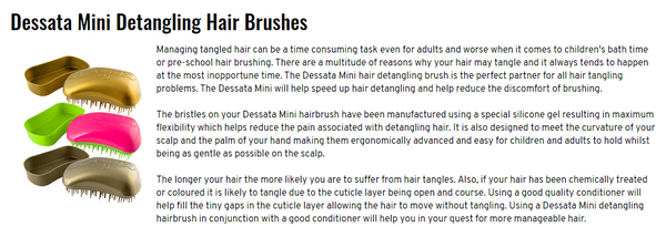 Dessata Mini Detangling Brush. Silver and Pink