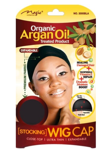 Magic Collection Women's Organic Argan Oil Treated Wig Cap Black ( 3000 )