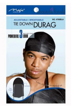 Magic Collection Men's Tie Down Durag Black - 4769Bla