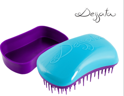 Dessata Mini Detangling Brush. Turquoise & Purple