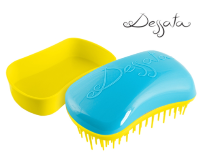Dessata Mini Detangling Brush. Turquoise & Yellow