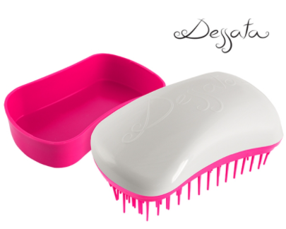 Dessata Mini Detangling Brush. White & Fuchsia