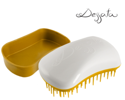 Dessata Mini Detangling Brush. White & Gold