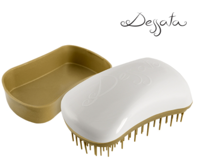 Dessata Mini Detangling Brush. White & Old Gold