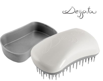 Dessata Mini Detangling Brush. White & Silver