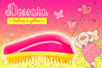 Dessata Mini Detangling Brush. Fuchsia & Yellow