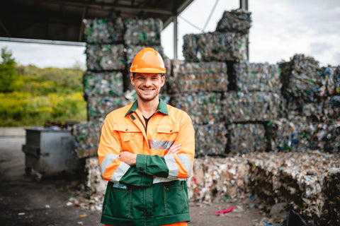 Worker at recycling facility