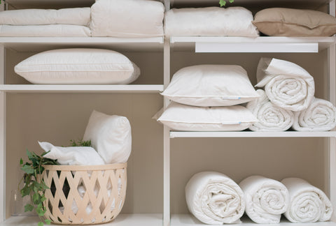 clean bamboo sheets in linen closet