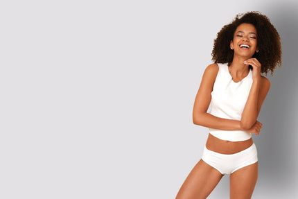 Woman smiling white bamboo underwear