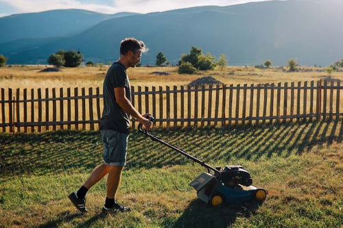 black socks husband mowing